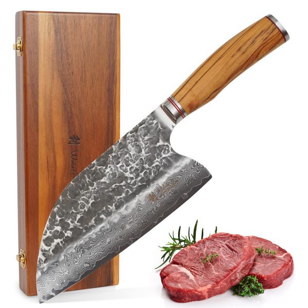 Wakoli Damast Chinesisches Kochmesser 20,00 cm Klinge mit Hammerschlag schwarz und Olivenholzgriff Serie Olive HS
