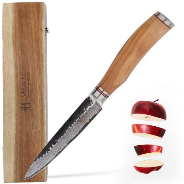 Wakoli Damast Allzweckmesser 12,50 cm Klinge mit Hammerschlag schwarz und Olivenholzgriff Serie Olive HS