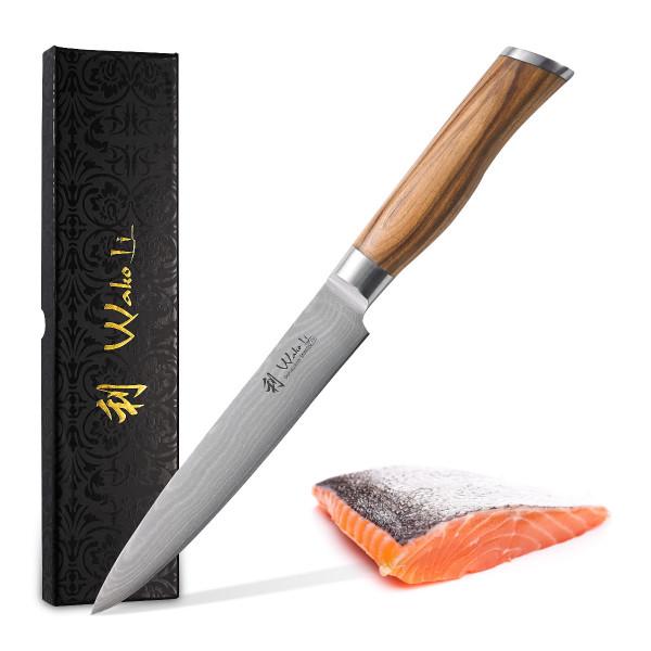 Wakoli Oliven Damast Fleischmesser, Klingenlänge 17,00 cm - sehr hochwertiges Profi Messer mit Olivenholzgriff