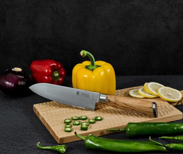 Wakoli Oliven Damast Santokumesser, Klingenlänge 17,00 cm - sehr hochwertiges Profi Messer mit Olivenholzgriff