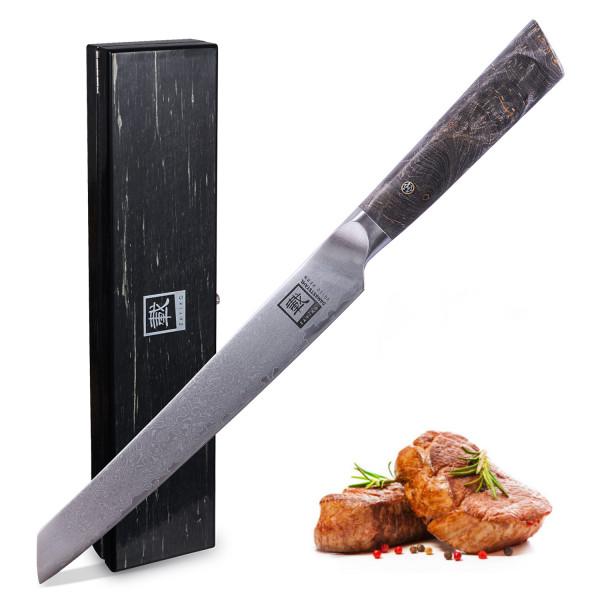 Zayiko Damast Fleischmesser - Extrascharfes Profi Messer mit Ahornholzgriff