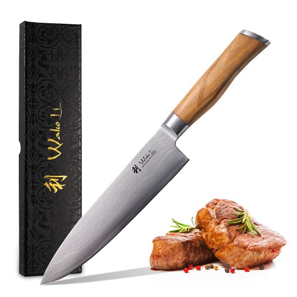 Wakoli Oliven Damastmesser - sehr hochwertiges Profi Messer mit Olivenholz Griff mit Damast Klinge,