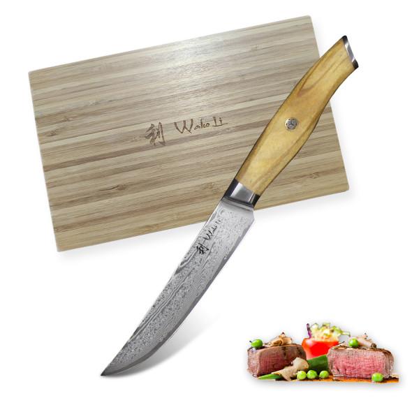 Wakoli - Exklusive 6er Damast Steakmesser, Klingen 12.50 cm Länge - sehr hochwertiges, extra scharfes Profi Steakmesser-Set mit Damastklingen und Olivenholzgriffen