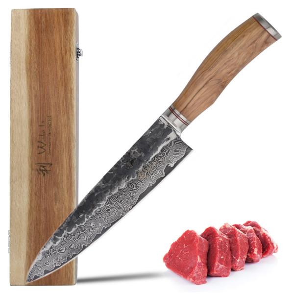 Wakoli Damast Chefmesser 20,00 cm Klinge mit Hammerschlag schwarz und Olivenholzgriff