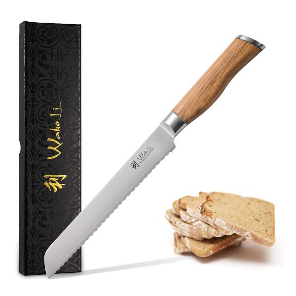 Wakoli Damast Brotmesser mit Olivenholzgriff, Klingenlänge 20,00 cm und Geschenkverpackung - japanischer Damaststahl VG-10