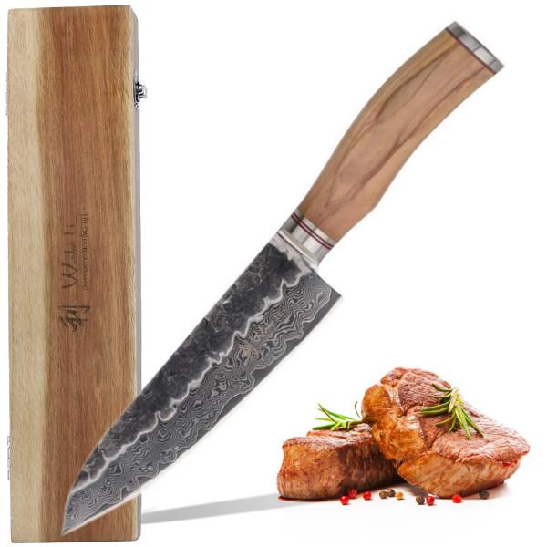Wakoli Damast Santokumesser 17,00 cm Klinge mit Hammerschlag schwarz und Olivenholzgriff Serie Olive HS