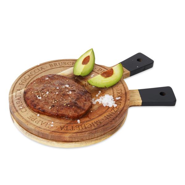 Hochwertiges 2er-Set Schneidbretter, Frühstücksbretter aus massivem Akazienholz mit Gravur, Durchmesser 20.00 cm