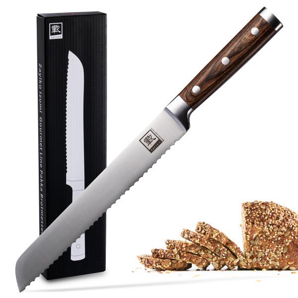 Zayiko Brotmesser 20,00 cm Klinge I Scharfes Küchenmesser und Profi Kochmesser aus deutschem Stahl mit Pakkaholzgriff und Geschenkbox Serie Zayiko IZUMI