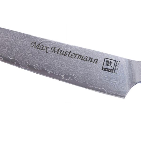 Persönliche Gravur für ein Damast- oder Stahlmesser