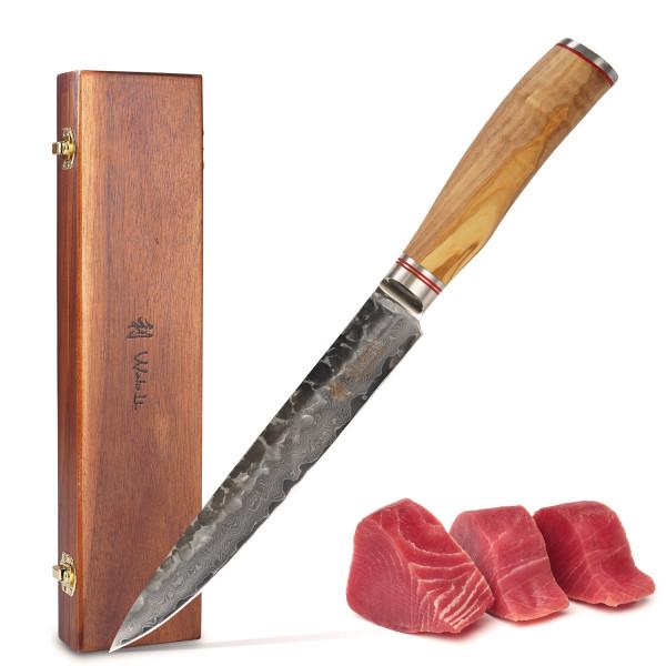 Wakoli Oliven Damast Fleischmesser extrem scharfe 20,00 cm Klinge | Profi Damast Schinkenmesser mit schwarzem Hammerschlag und Olivenholzgriff